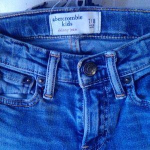 Boys Abercrombie kid's ripped skinny blue jeans